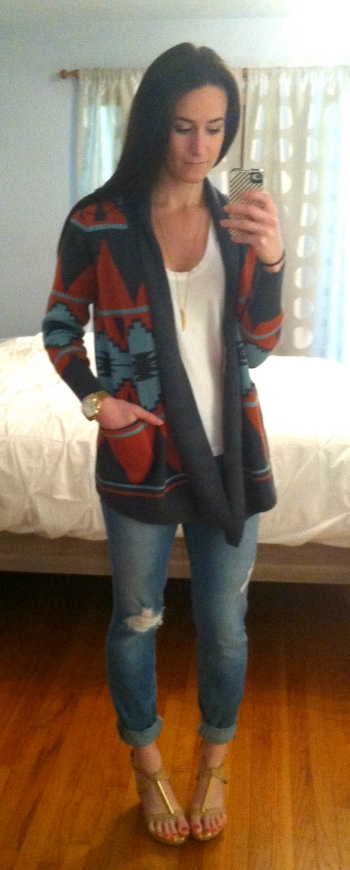 Quicksilver sweater, Karma t-shirt, Joe's Jeans denim, Dolce Vita wedges, Michael Kors watch, Target necklace