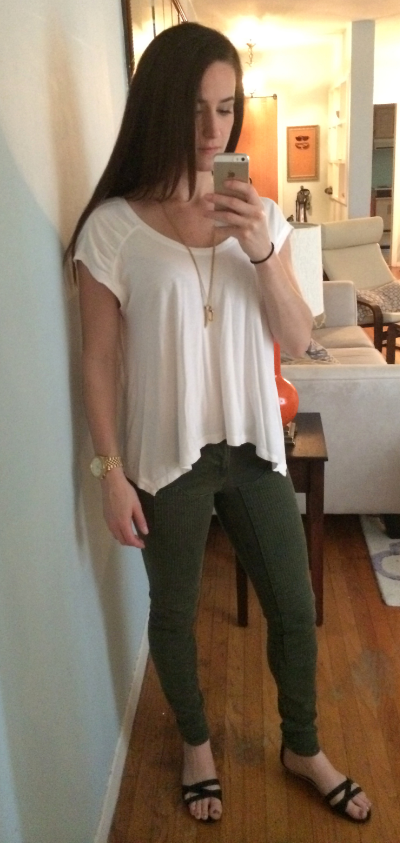 Karma top, J Brand jeans (you would not believe the detailed paneling on the front of these - awesome!), Target sandals, Michael Kors watch