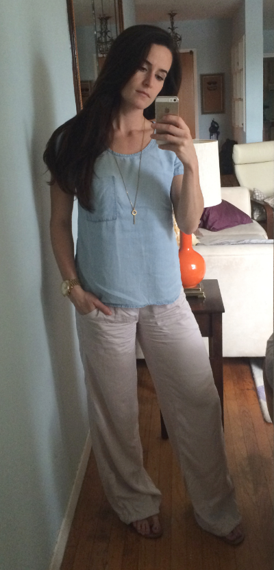 Rag & Bone top, lululemon pants, Michael Kors necklace and watch