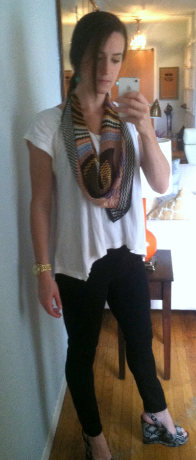 Karma top, Express jeans, Missoni scarf