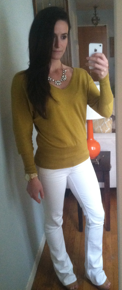 Soybu sweater, Mother jeans, Michael Kors sandals, J Crew necklace