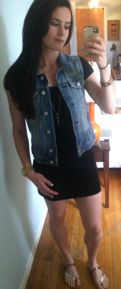 Gap vest, black cotton dress from who knows where, Target sandals, Michael Kors necklace, J Crew leopard bangle