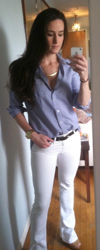 Gap (men's XS) button-down, Mother jeans, all dem gold accessories
