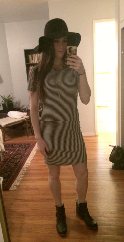 J Crew hat, Brandy Melville dress, Target boots