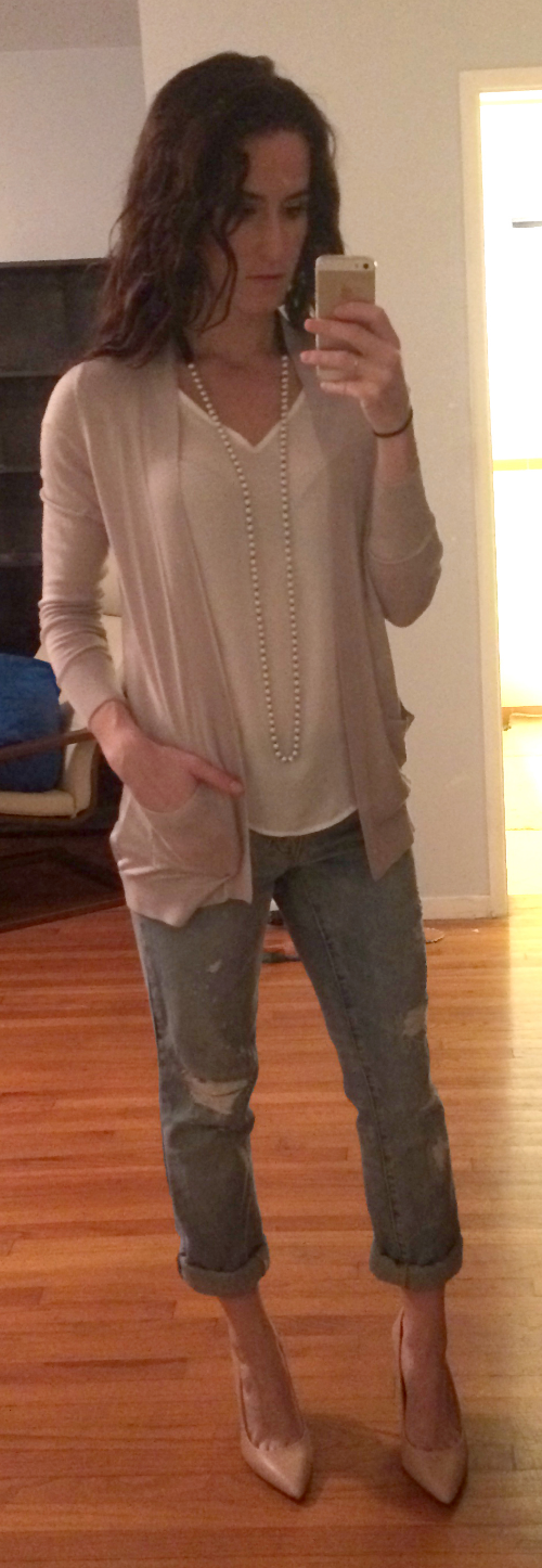 H&M cardigan with silk back, Gap boyfriend jeans, Vince Camuto nude pumps