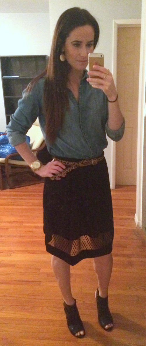 Anthropologie chambray button down, Banana Republic skirt, Nine West pumps, Banana Republic belt