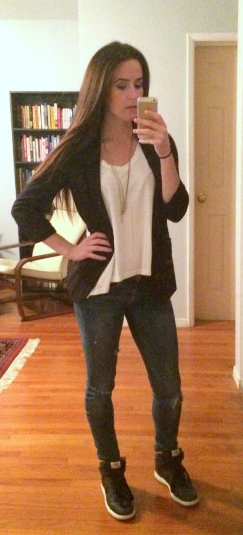 Aqua blazer, Express jeans, Karma tee, Nike high tops
