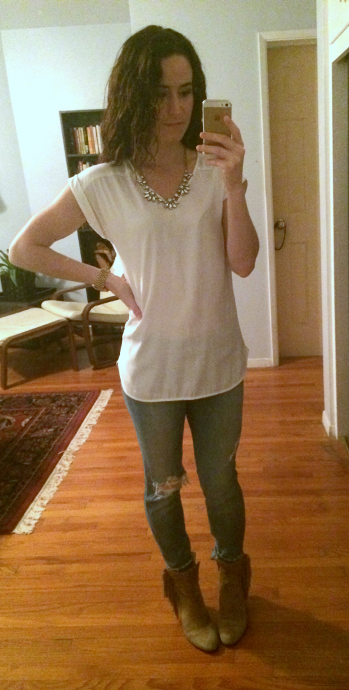 Express blouse, Joe's jeans, Sam Edelman booties, J Crew necklace