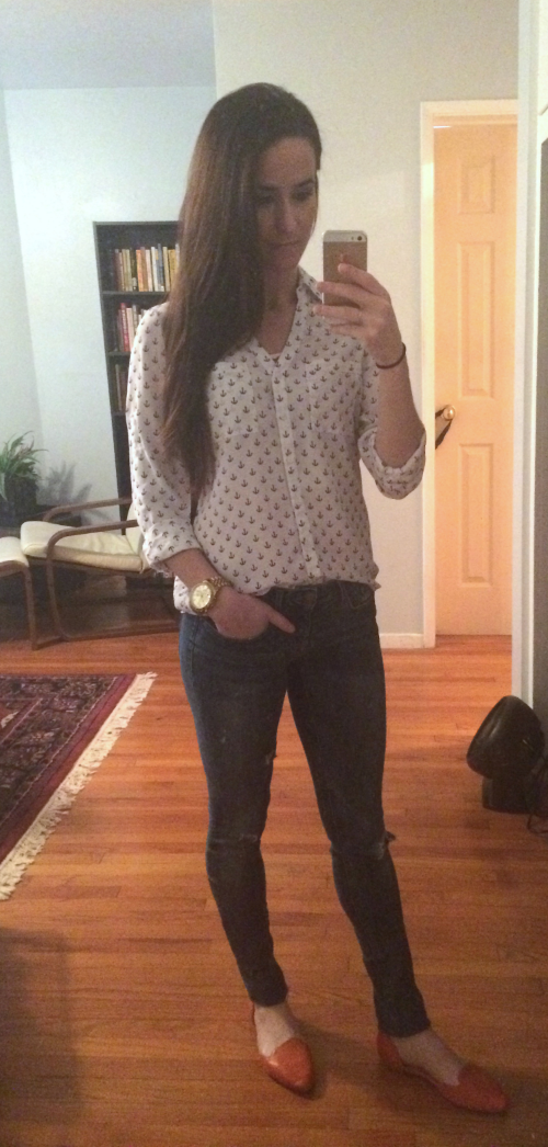 Express blouse, Express jeans, Kate Spade flats