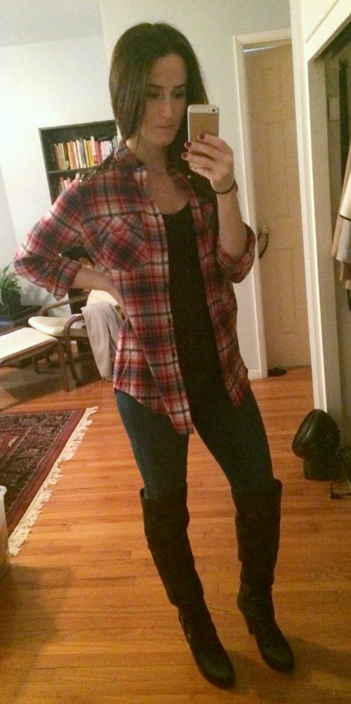 Express flannel (you'd think I was back in 9th grade - they had a sale!), Banana Republic jeggings, Guess knee-high boots
