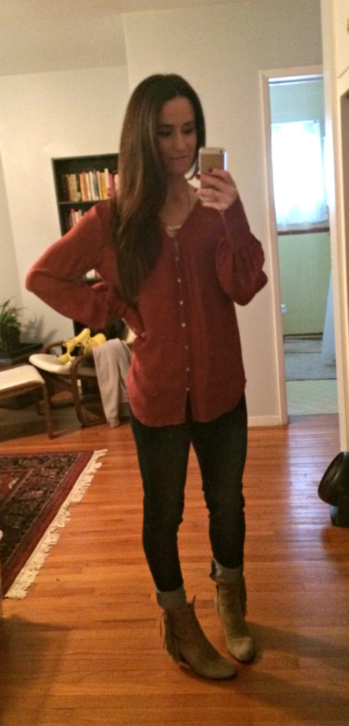 Elizabeth & James blouse, Gap jeans, Sam Edelman booties