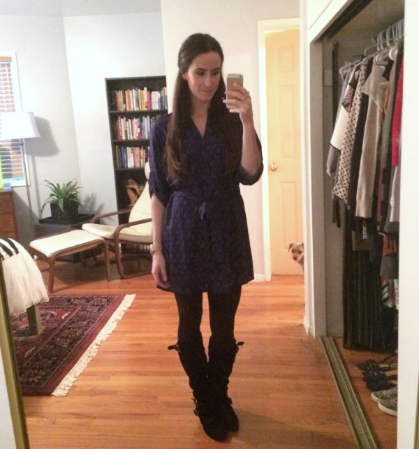 Aqua shirt dress, mystery boots. AND - a surprise sneak peek at our new bedroom! Reveal coming soon to the blog :) (Also, Ben says hi.)