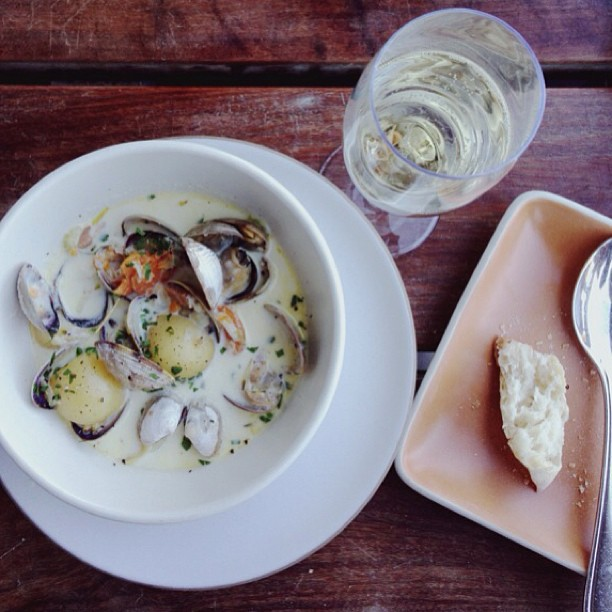 Until you've had legit chowder you are missing out on life. While you are at the Ferry Building, check out  Hog Island Oyster Co.   They know how to handle their seafood. Paired with a cava, this dish is simply delightful. Oh, and their oyster selection isn't too bad either.