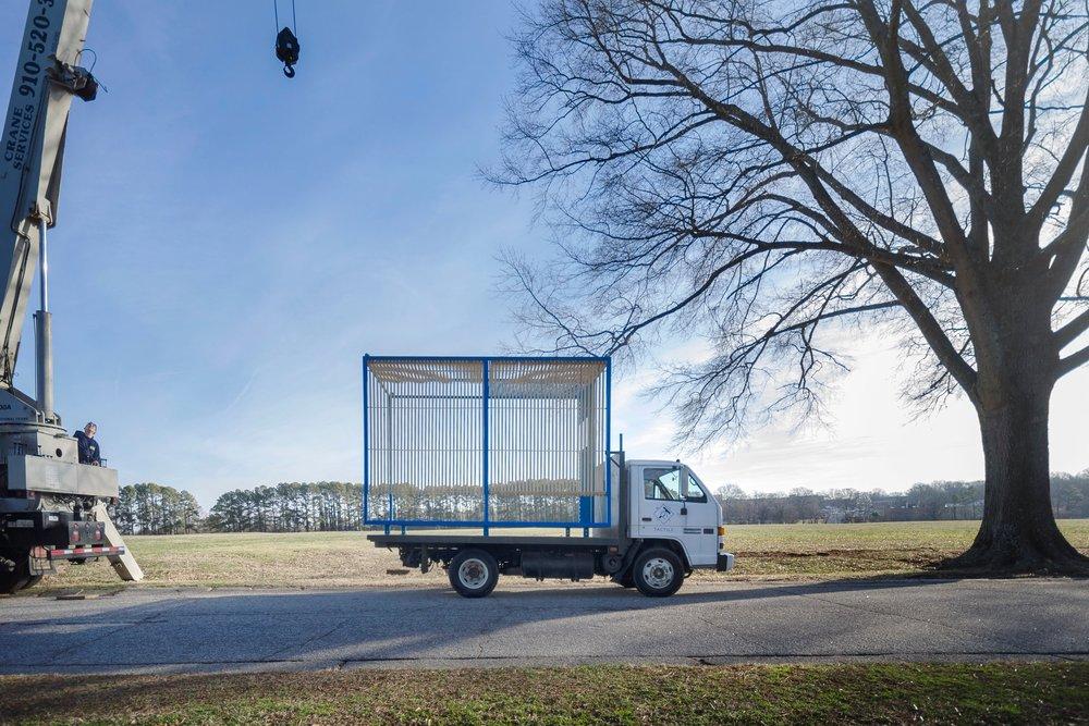 blue cube truck