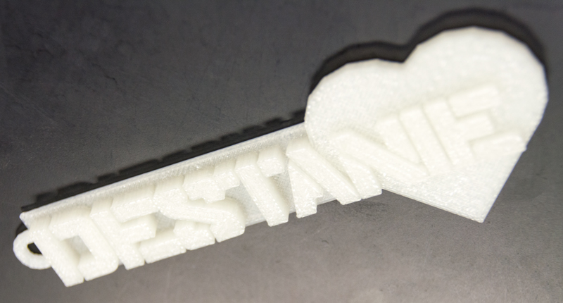 3d printed glow-in-the-dark name keychain with heart
