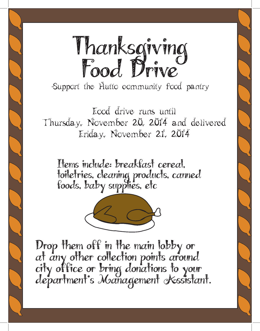 illustration of turkey on thanksgiving food drive flyer