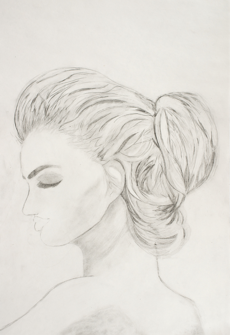 pencil drawing of a female in side profile view