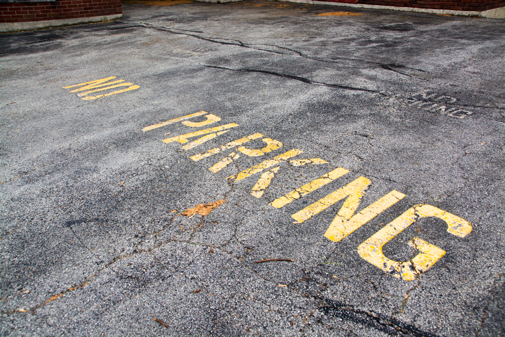 "artsy photograph of ""no parking"" painted on cracked parking lot with a single orange leaf."