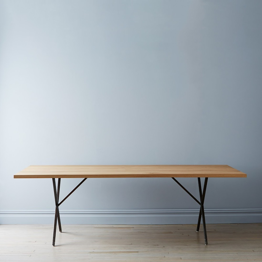 Solid White Oak & Rusted Steel Farm Table