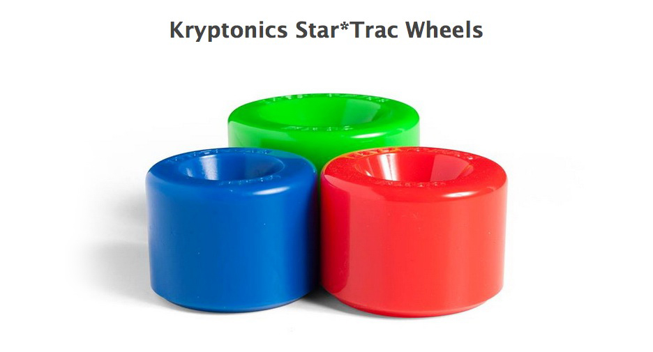 "What is old is new again.  The ""C-Series"" Kryptonics are an old friend to many of us and these are the Kryptonics Star*Trac Wheels reissue.  Three duros and three sizes, in shapes that are spot-on to the OG 1970's world-changers.  The original red 78A's from the 1970's are why many of the wheels you ride are the shape and durometer they are.  Now, whether this is a legitimate continuation of the Krypto lineage or another cashing-in attempt by a long-gone brand is easy to determine: skate 'em.  We have, and with the help of a crew of grom shredders, gear-sluts and a few crusties familiar with the original stuff, we've nearly cored all three duros.  If you're not talking about these, or skating on them, we have two reasons you should be: 1)  Our skate crew loved them.  We've carved 'em, slid 'em, rolled the skate park with 'em and cruised 'em.  The reds are fast and smooth, the blues are fun and the green ones are all on-order from a shop local to the groms and gear-sluts that put down cash to get their own sets.  The Kryptos roll smooth, slide fast and are durable.  They're fun to skate on. 2)  They're the first wheels not poured in California that are this good, and they're damn good.  Look, we've skated wheels from Italy, China, Australia and ""elsewhere"", and we've skated crap from California.  The deal here is that the wizards of urethane formulas and the best 'thane houses in the skateboard world have all been right in SoCal for decades and attempts by others to make great stuff has always fallen short --sometimes a little, often by a lot-- of the best urethane wheels, all of which come from California.   The Kryptonics Star Tracs shatter the paradigm:  they're excellent wheels and these are the ones we see marking the next evolution of wheel manufacturing.  It's not without a tear or twinge of bruised nationalist pride that we tell you wheels are gonna blow-up in '14."