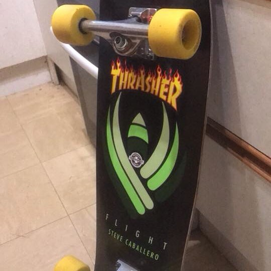 Check out this setup shared by Tim Saw.  Kryptonics Yellow 65mm and Indy's on a sweet Powell Flight deck. Thanks for the support Tim. #Kryptonicswheels #timsaw #powellperalta #independenttrucks #indytrucks #kryptonics #skateboard #thrasher
