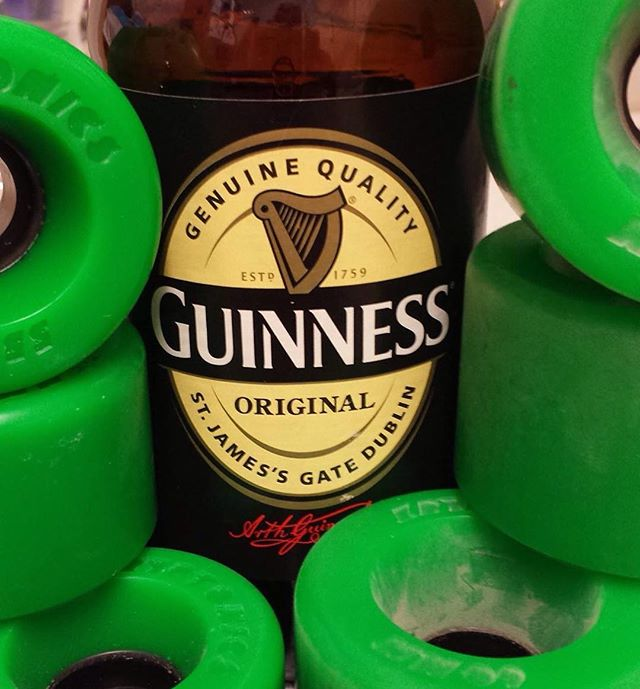 Happy St. Patrick's Day from your friends at Kryptonics Star*Trac wheels. Thanks to Rob Ashby for the image. #kryptonicswheels #robashby #stpatricksday #guinness #beer #kryptonics #skateboard #longboard #kryptonicsstartrac
