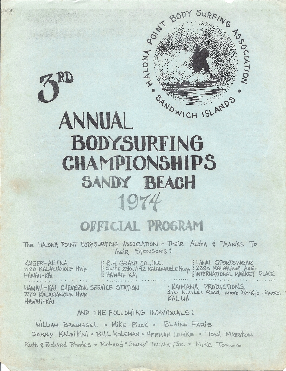 1974 Sandy Beach Bodysurfing Championships Program