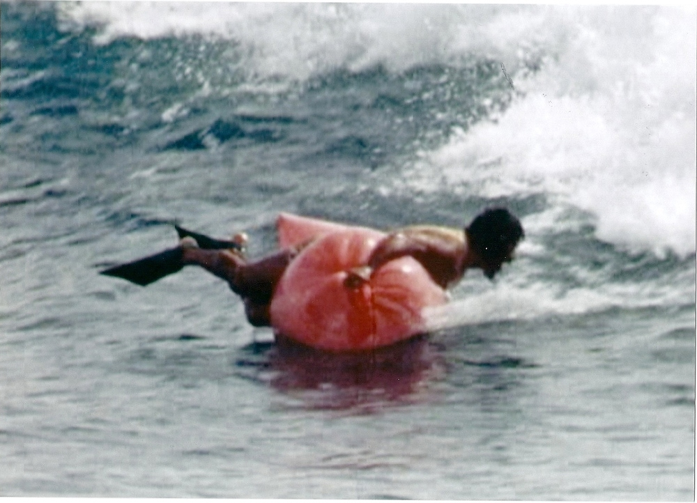 Al Santos surfing at Makaha, Oahu, in the 1973