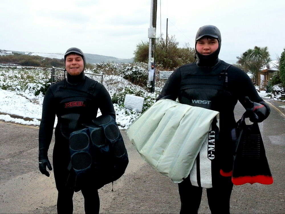 Surfmats in the Snow - Andy Cooke (L) and Phil Sinclair (R) at Perranuthnoe by Graeme Webster.jpg