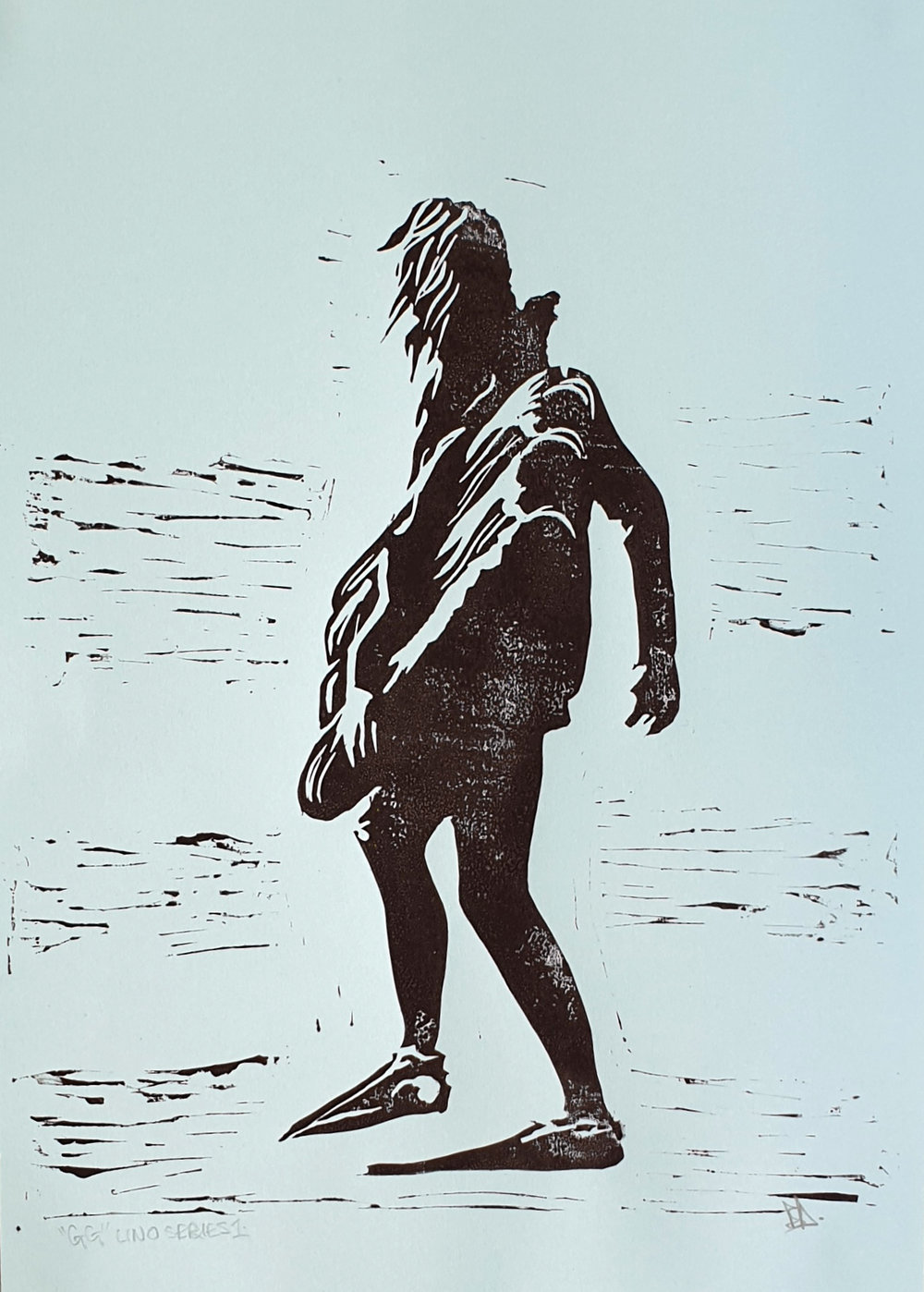 Bryn Dampney George Greenough Surfmat Lino Print