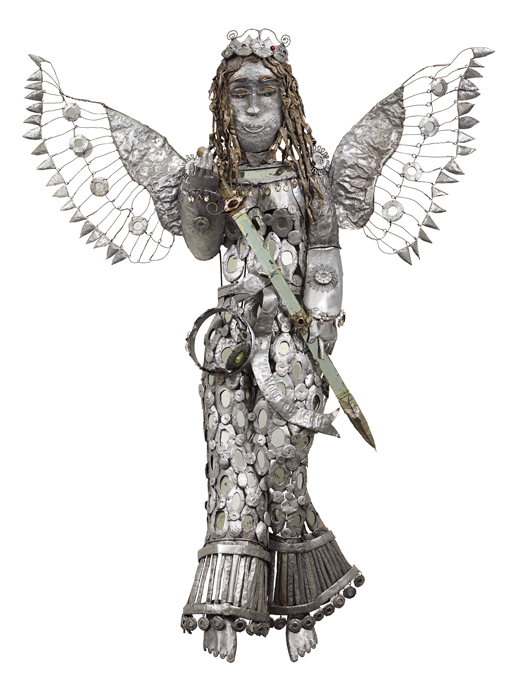 Lionel St. Eloi, Angel of Justice (2004). Found aluminum, wire, bottle glass, glass mirror.