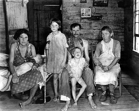 Walker Evans, Bud Fields and his family at their home in Alabama, 1935.