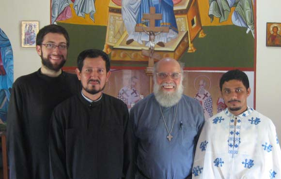 With two other Guatemalan priests and Fr. John Chakos (second to right), the missionary team leader