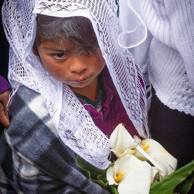 Children from Todos Santos carry flowers to a new church that is being consecrated in their village. #guatemala #orthodoxmissionary