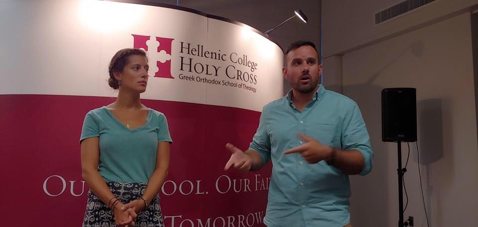 Speaking at the missions meeting at Hellenic College Holy Cross in Brookline, MA