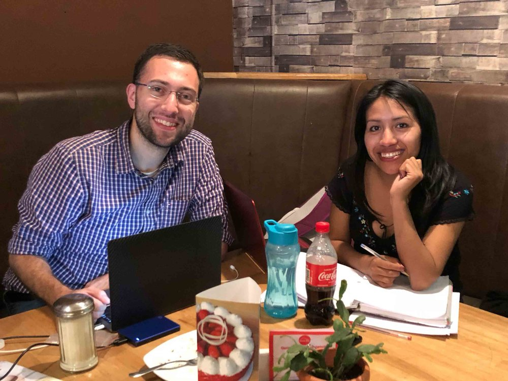 Studying together at a cafe in Huehuetenango. We like spending time in cafes so that we can be together even while she's studying and I'm working on tasks for the mission.