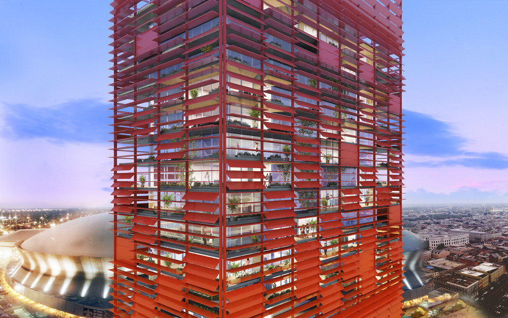 Rendered facade details - solar control louvers