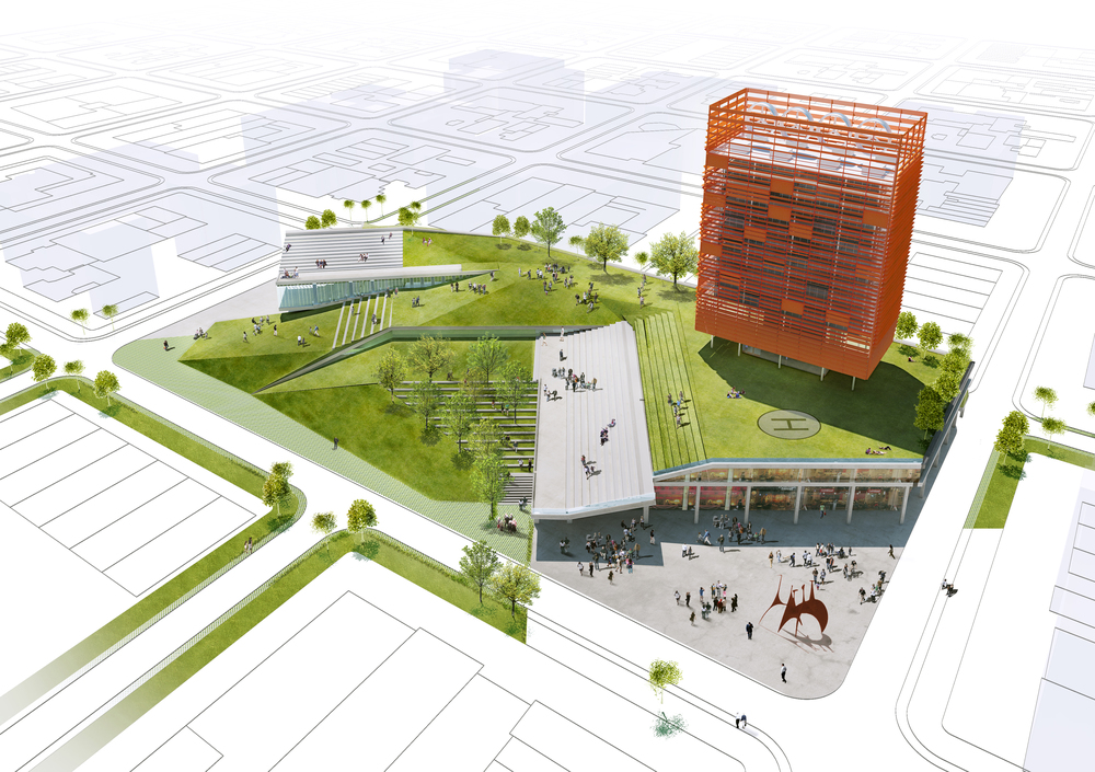 Rendered overview of typical SEED: public park, street-level commercial retail, cultural incubator, helipad, residential / emergency housing