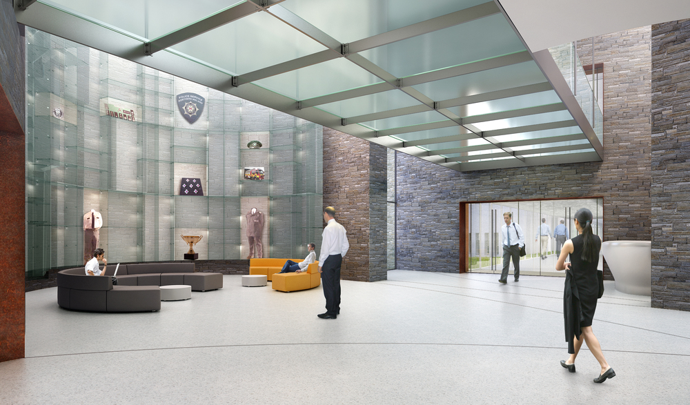 Rendered view of main reception gallery