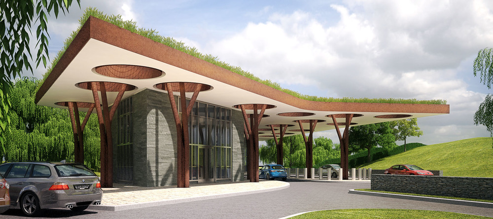 Rendered view of Welcome Center