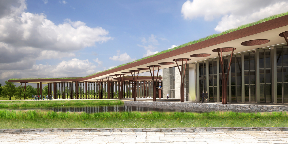 Rendered view of campus from rainwater harvesting retention pond