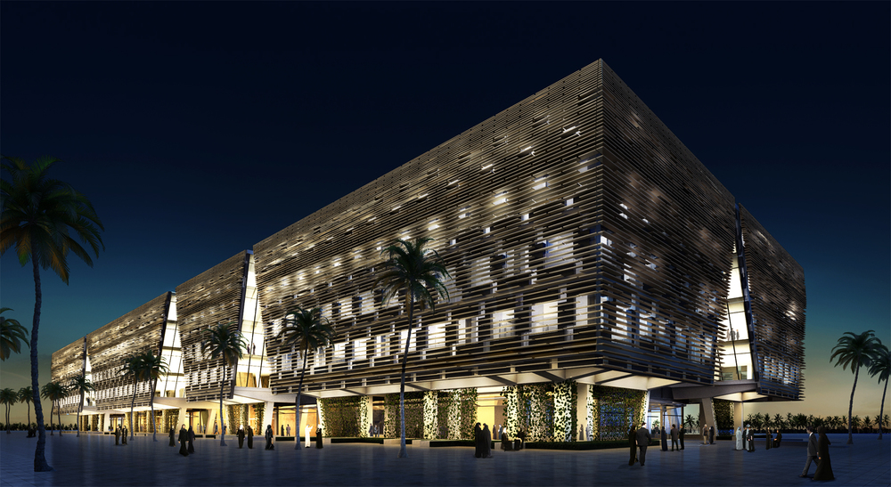 Rendered view of building at night