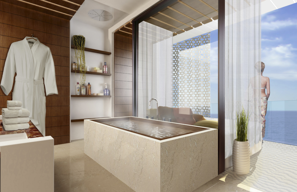 Rendered view of typical hotel room - 'private spa'