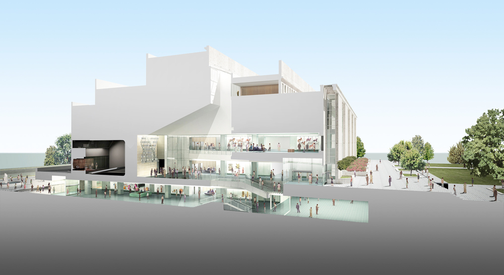 Sectional perspective through central spine of museum's public spaces. Image credit: ©SOM