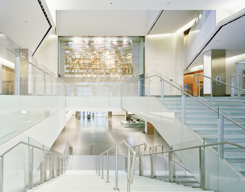 View of Flag Hall from monumental glass stair