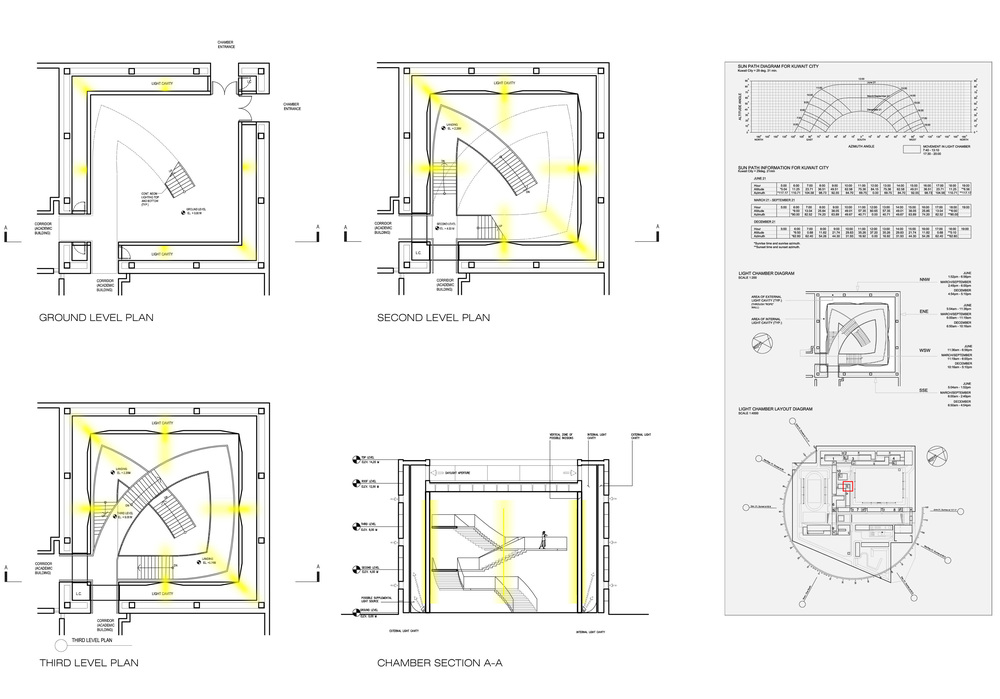 Drawings of one of ten Light Chambers designed in conjunction with James Turrell - image credit: © SOM