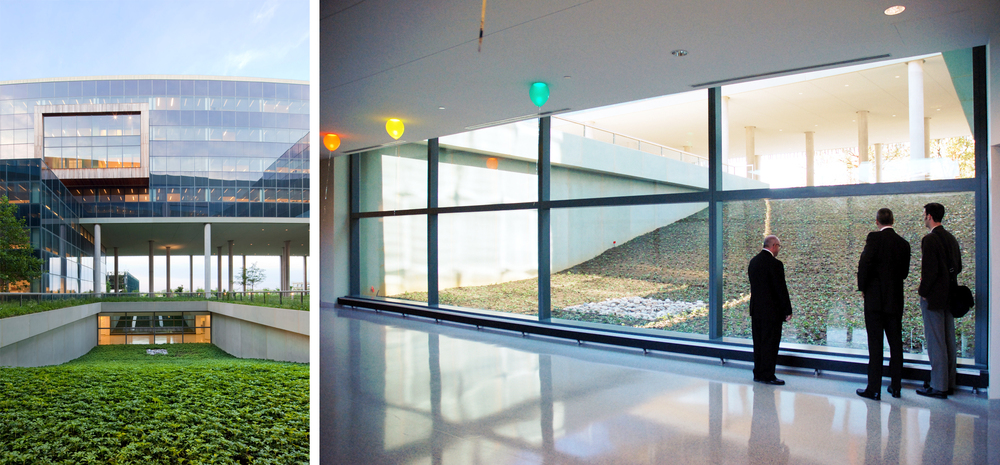 Two views of the subterranean ground level concourse - with landscape light scoops. Right: Image credit: © R. Anthony Fieldman