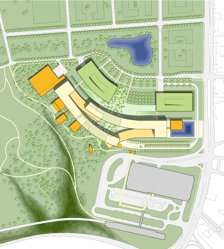 Site Plan (woodland preserve visible at bottom left) - image credit: © SOM