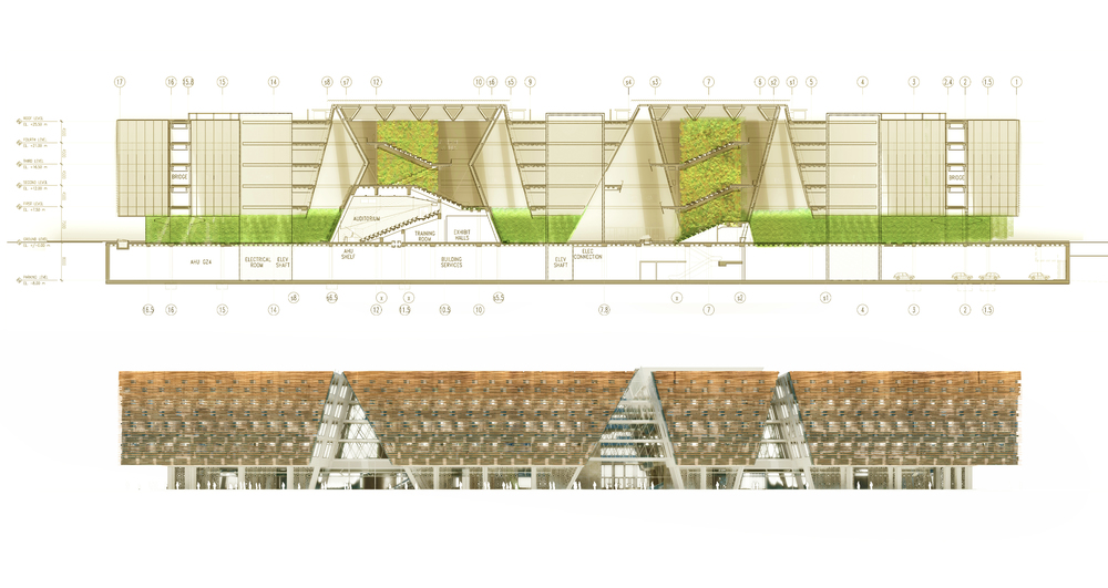 Building section and elevation highlighting 'tent gardens'