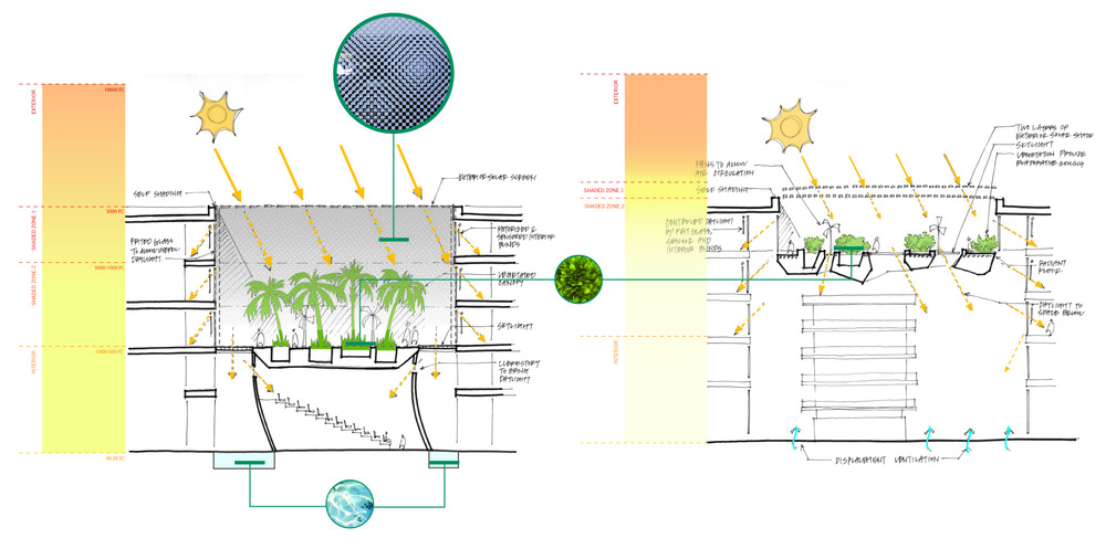 Sketches of courtyard gardens, sustainability studies - Images © Atelier Ten